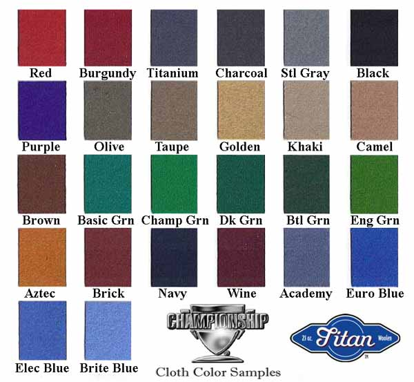 Pool Table Refelting color sample chart